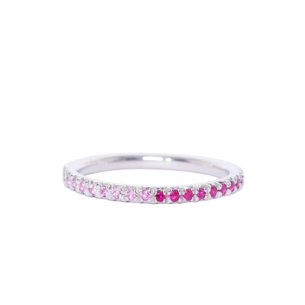 Silver and pink silver and ruby eternity ring