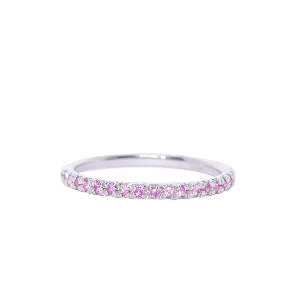Silver and pink sapphire half eternity ring