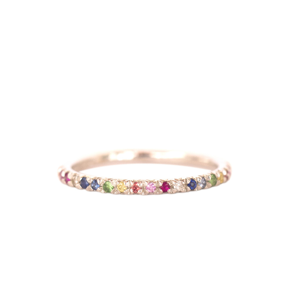 Silver and rainbow eternity ring