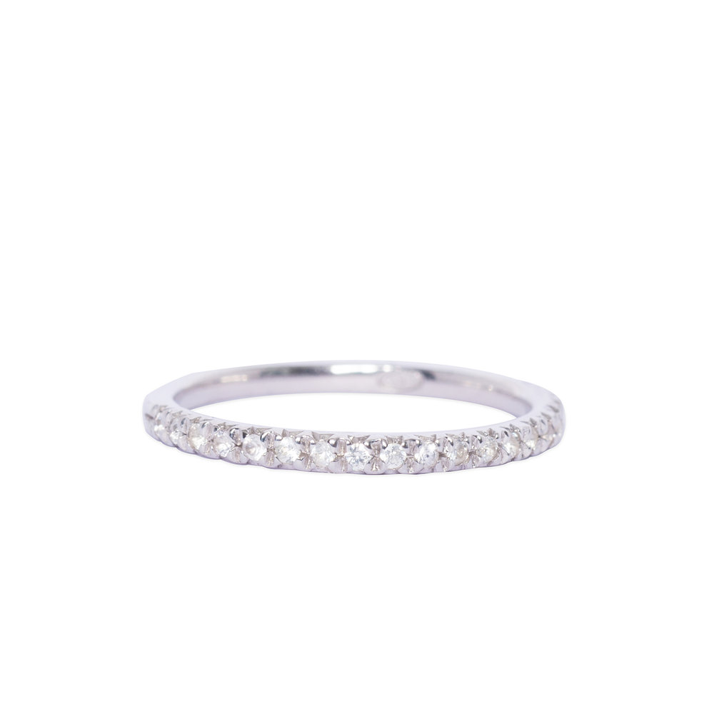 Silver and white sapphire half eternity ring