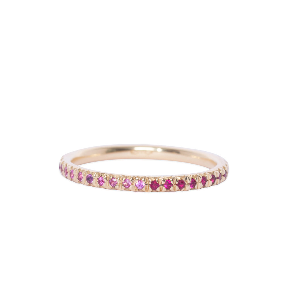 Gold, pink sapphire and ruby eternity ring