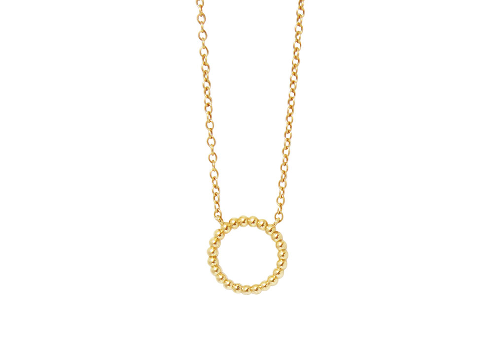 GOLD BEADED ETERNITY NECKLACE -