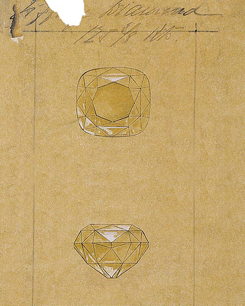 A rendering of the Tiffany Diamond from an 1886 ledger in the Tiffany archives.