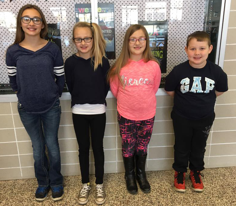 PICTURED: Weston Boltz, 2nd grade, Maggie Collins, 3rd grade, Jamie Warmoth, 4th grade, and Dawson Harvey, 5th grade.