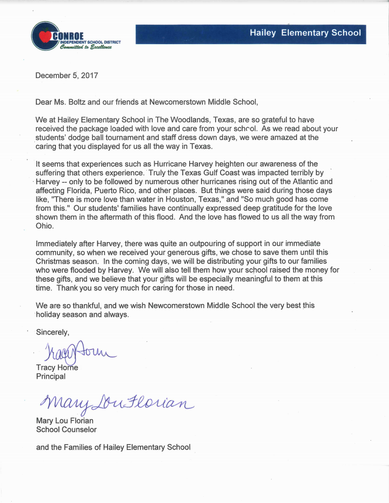 middle school students receive thank you card ok