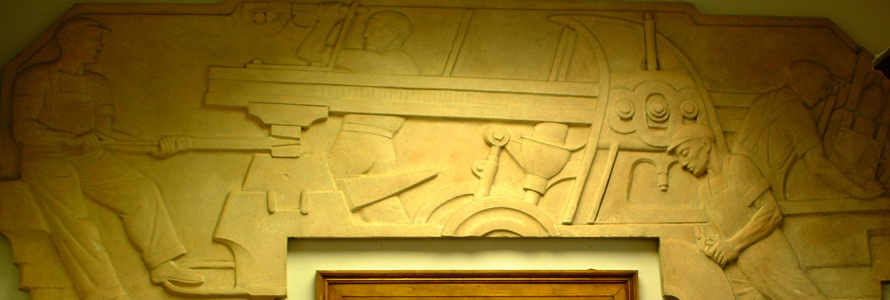 Cesare Stea's work for the Newcomerstown Post Office, Newcomerstown, Ohio Men and Machines (1939) - Plaster bas-relief, 4.25 x 11.5 feet (Photo by Michael A. Wise, Newcomerstown.com)