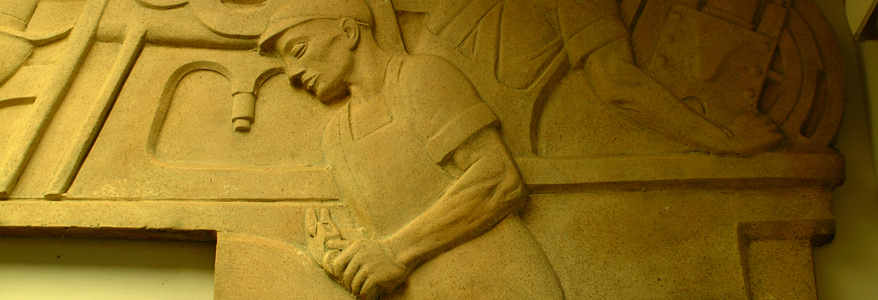 Cesare Stea's Men and Machines (1939) - Plaster bas-relief, 4.25 x 11.5 feet (Photo by Michael A. Wise, Newcomerstown.com)