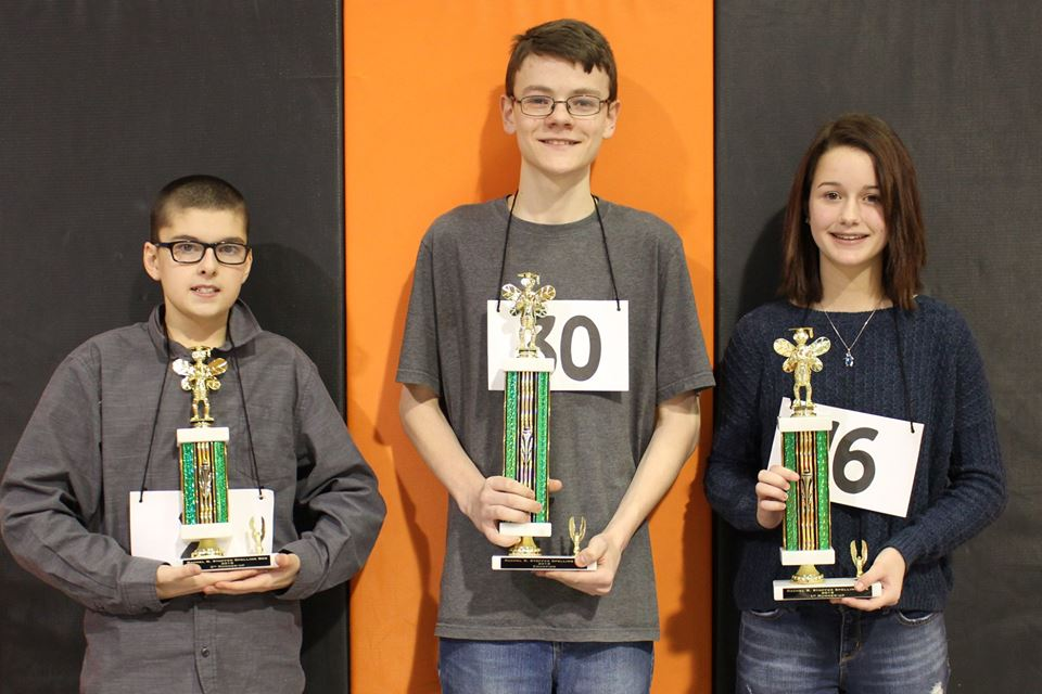 Left-right, 2nd Runner-up, Dakota Offman; Champion, Seth Gamble; and 1st Runner-up, Caitlin Green