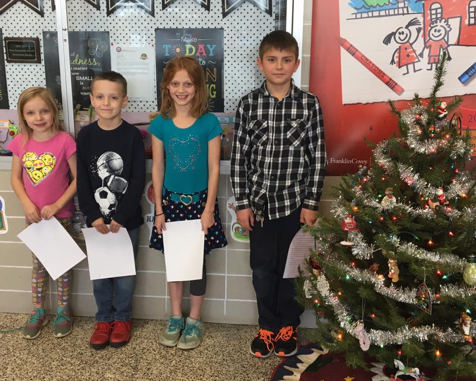 Congratulations to West Elementary School's December Students of the Month.  L-R: Lauren Ahle, second grade, Kaden Gibbs, 3rd grade, Shania Anderson, 4th grade, de- Jason Miller, 5th grade  Keep up the good work!