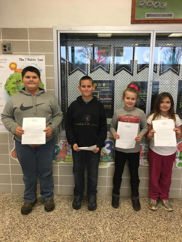 Congratulations to West Elementary School's students of the month for November.  L-R: Ethan Swigert, 5th grade, Bobby Donathan, 4th grade, Lilly Hunt, 3rd grade, Hailee Hanenkrat, 2nd grade.