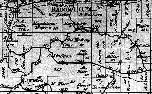 Cemetery is central to this 1872 map.