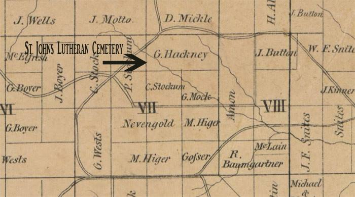 1850 Coschocton County map from Library of Congress showing the Stockum property.