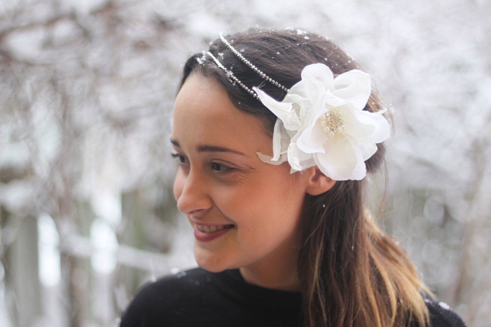 White silk peonies with double beaded wire headband