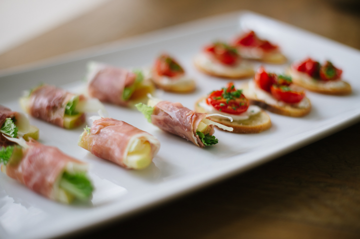 Proscuitto wrapped local apples, manchego, and greens Roasted cherry tomato, herb, and goat cheese bruschetta