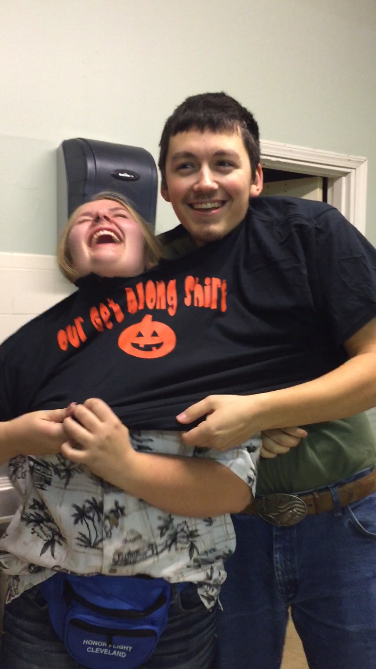 """Clayton and I from the volunteer Halloween party last year. We decided to wear a """"get along shirt"""" for our costume but it definitely didn't help us get along, it did quite the opposite!"""
