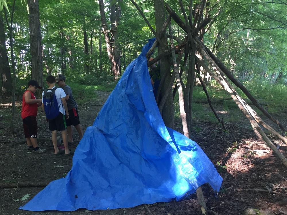 Shelter building is a camper and leader favorite!