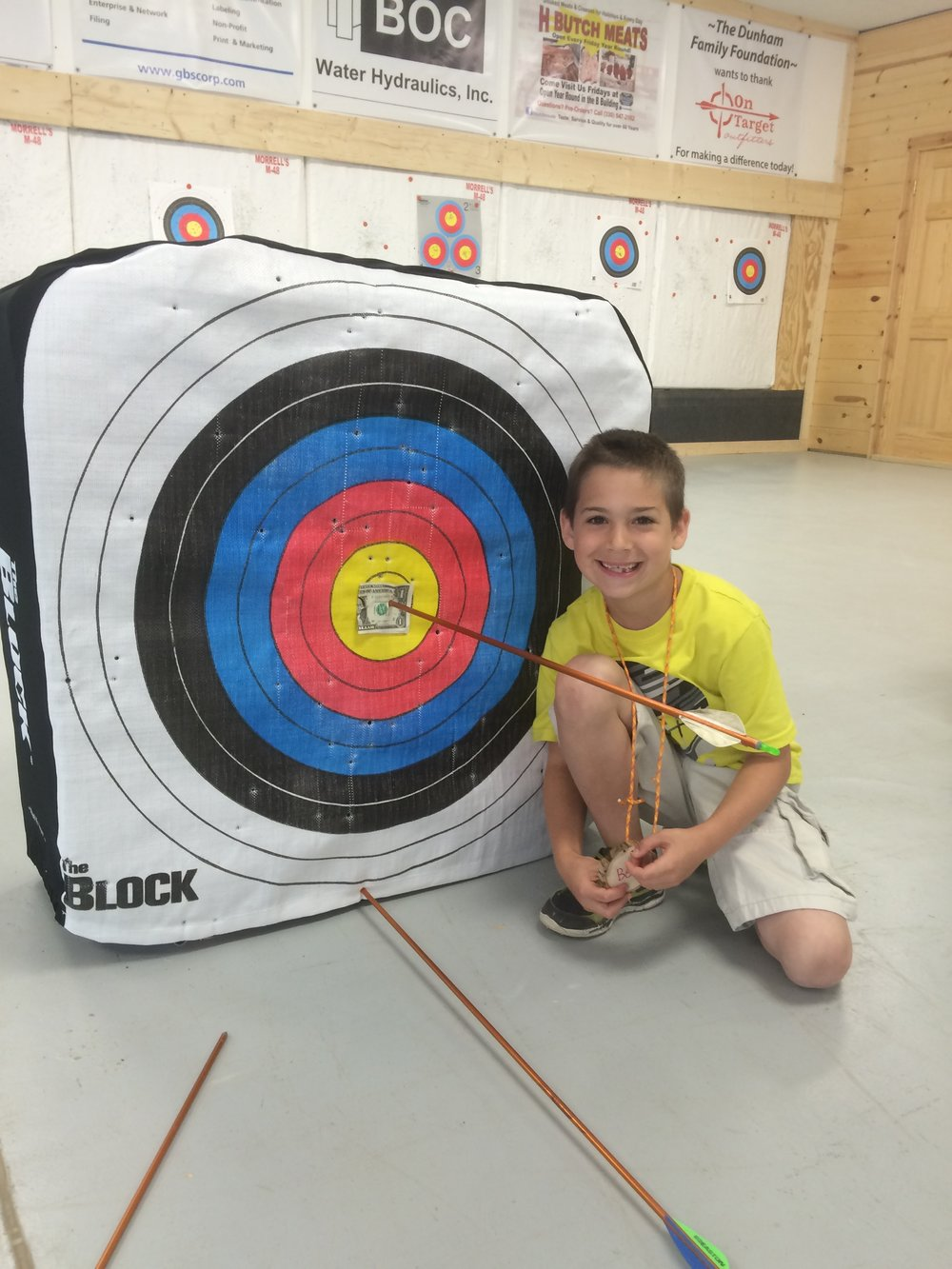 Campers get the win tons of prizes in Introduction to Archery, including money and candy!!