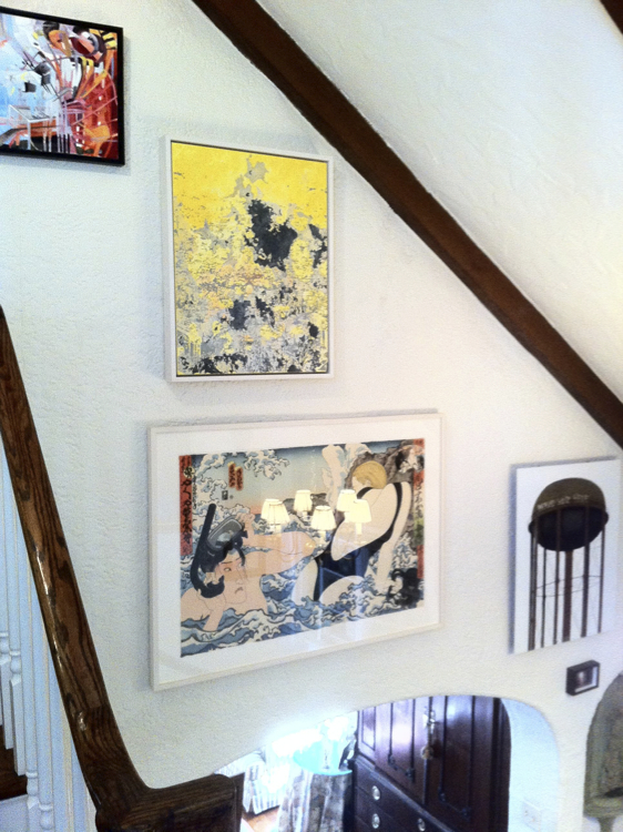 Another installation in Greenwich, CT, including the works of Karen Seapker (upper left), Noah Landfield (upper center), Massami Teraoka (lower center) and Jeremy Wagner (right).