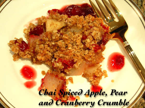 Chai Spiced Apple, Pear & Cranberry Crumble