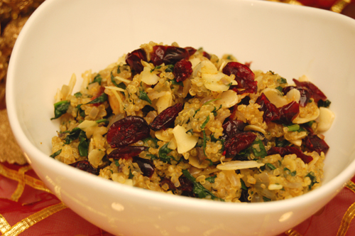 Curried Cranberry & Almond Quinoa with Arvinda's Curry Powder.