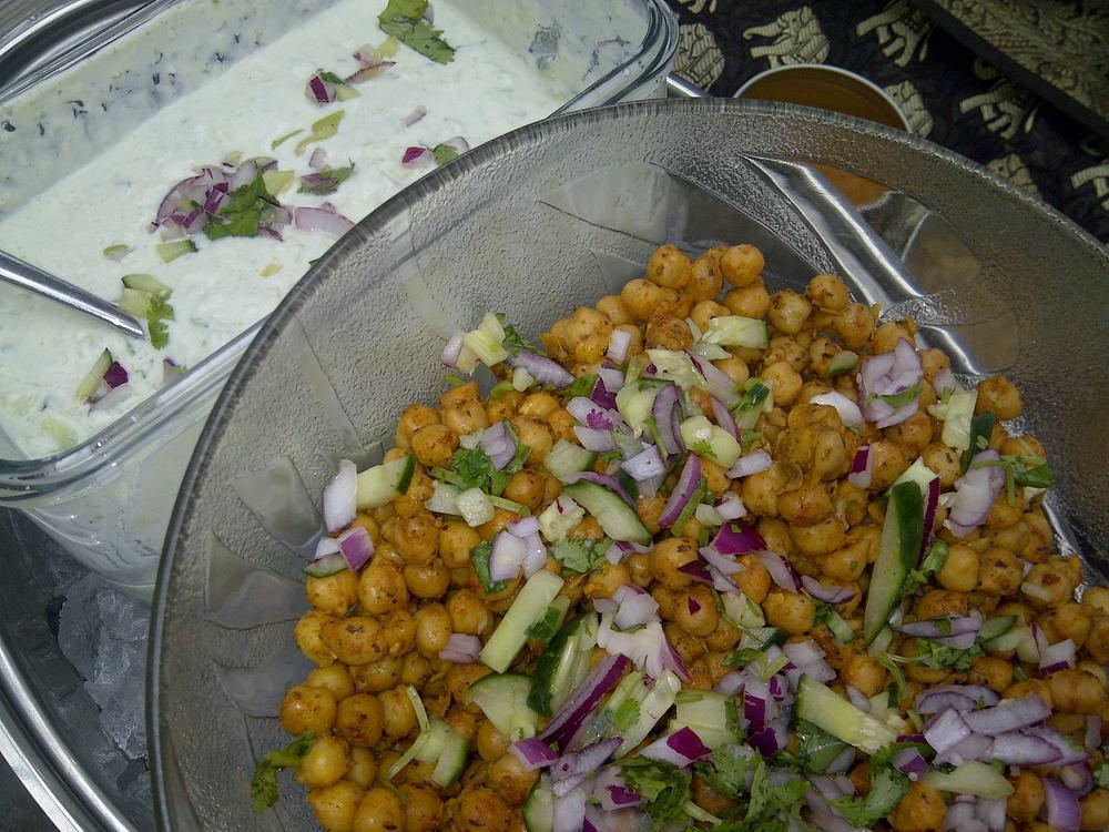Arvinda's Tandoori Skillet Spiced Chick Peas with Cucumber Raita Drizzle.