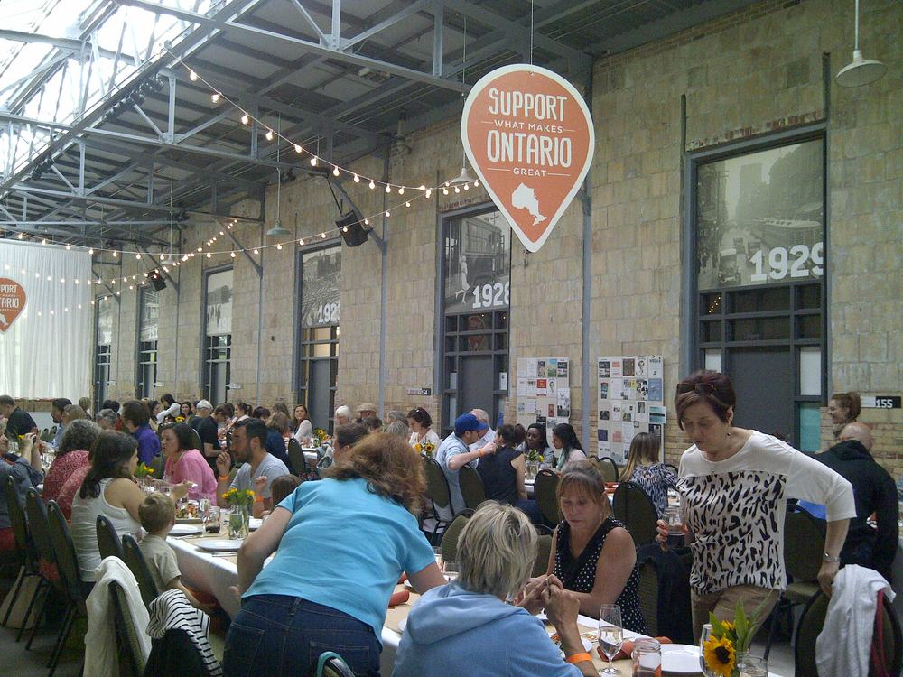 The communal long table dinner hosted by Whole Foods Market #CitySupper at Wychwood Barns. All proceeds went to The Stop Community Food Centre.