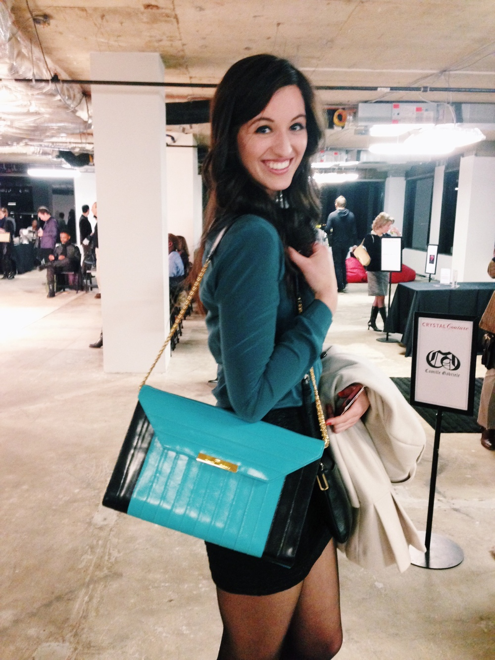 Here, Stephanie models a Camille Gabriele purse.