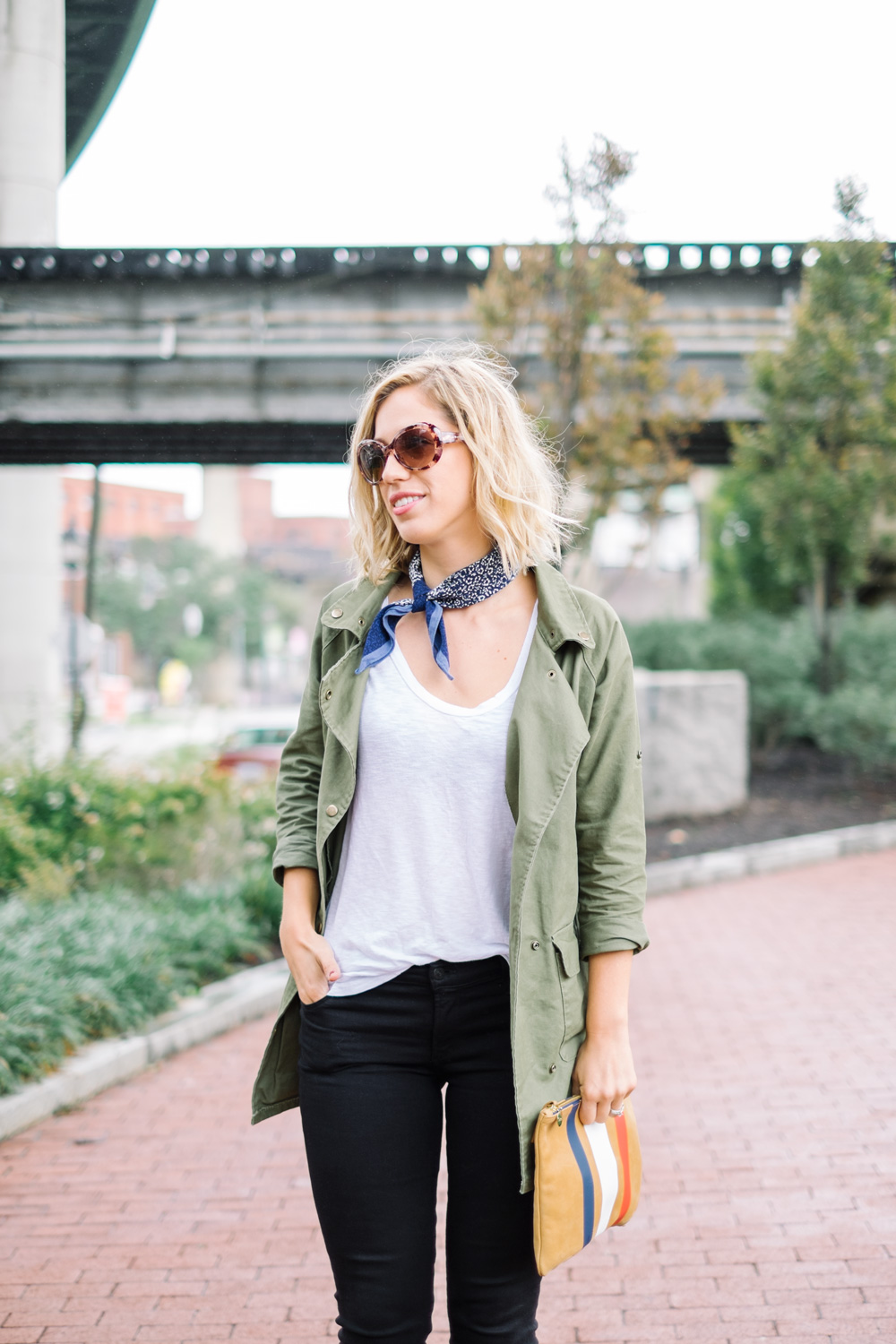 Military green jacket and scarf
