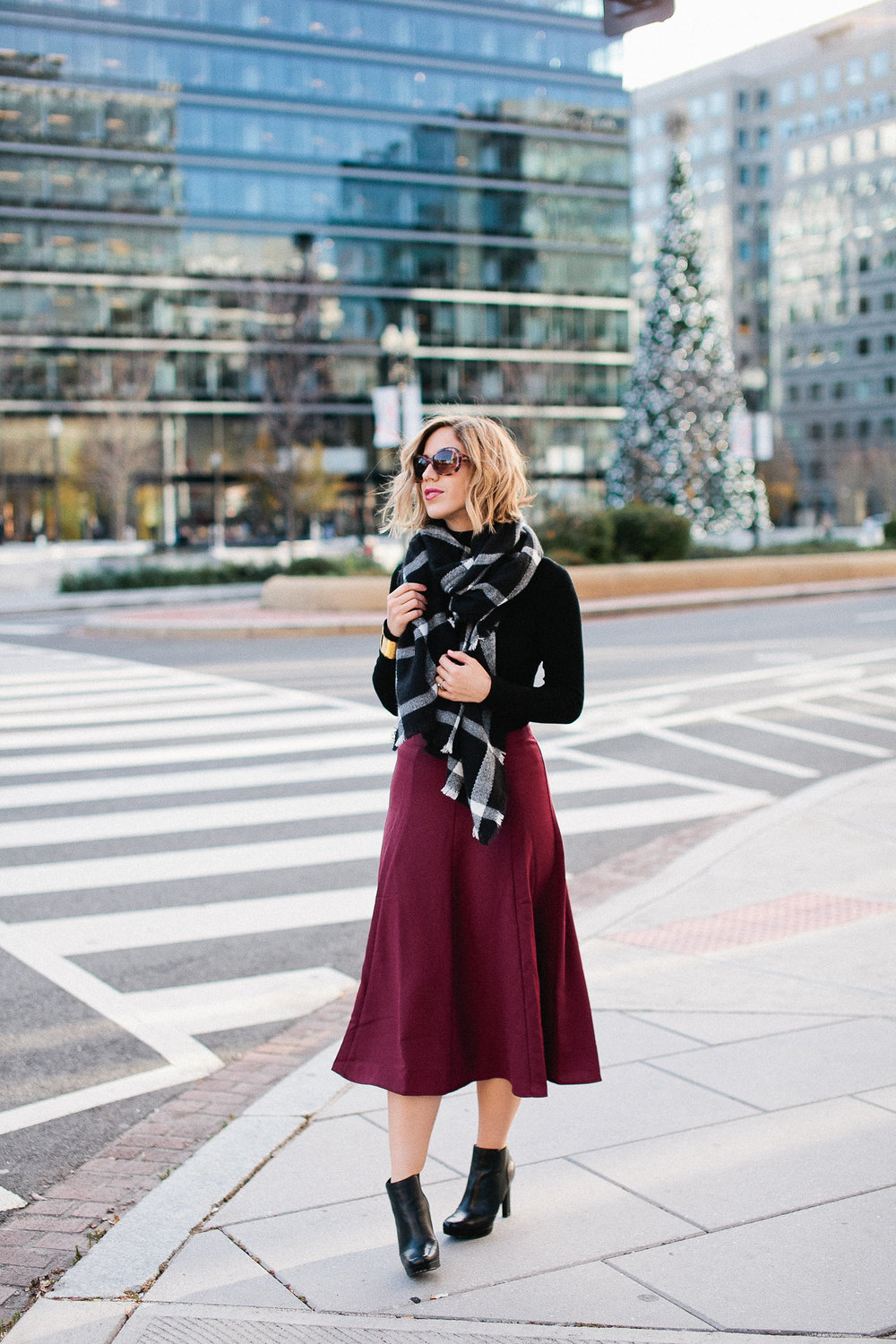 Burgundy skirt +turtleneck + platform boots  (see full outfit post here!)