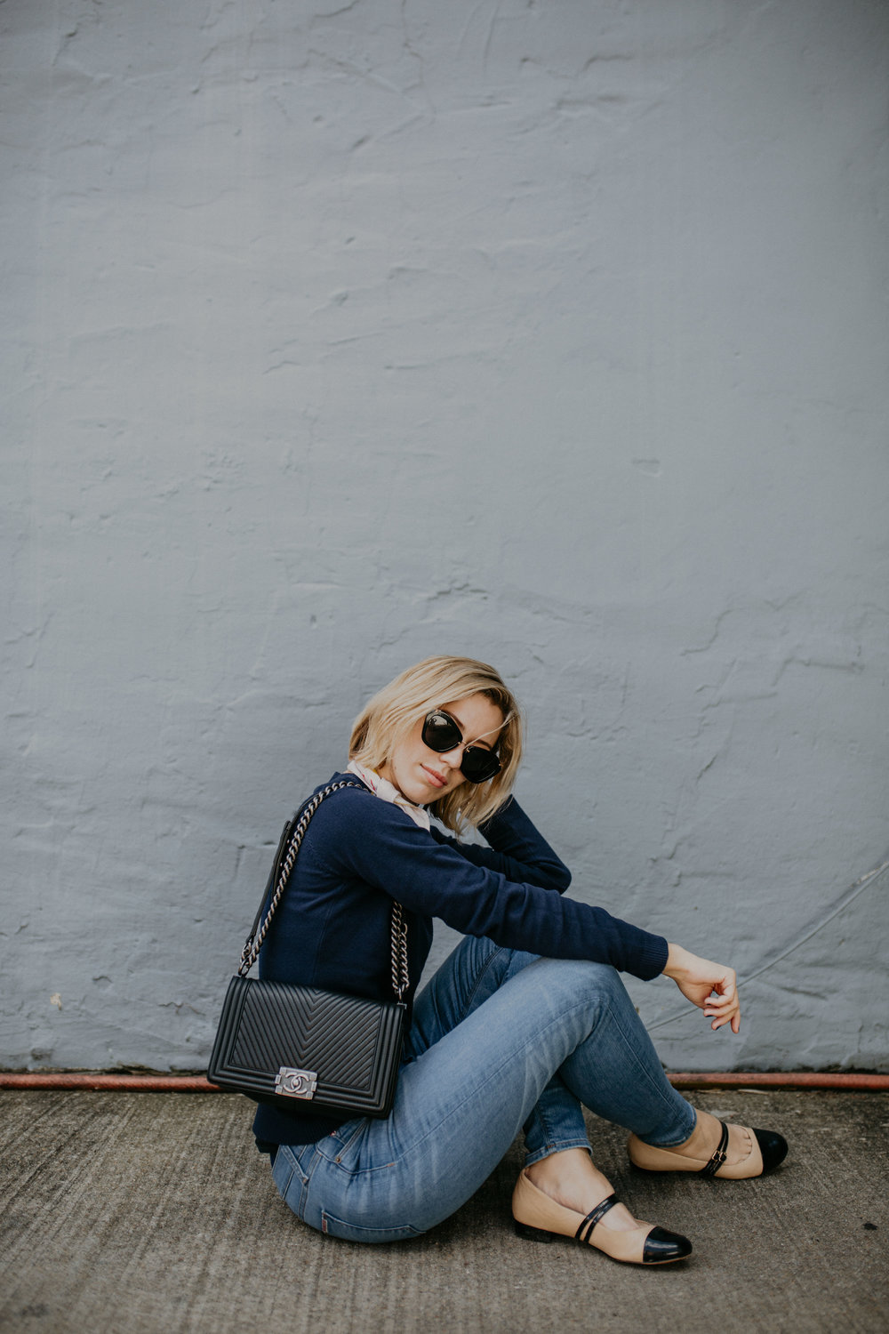 Photos by  Erin Krespan  // Wearing  Hudson Jeans via Fitcode  c/o,  Take 5 Boutique  sweater,  scarf (comes in a set of 4!)  and  nail polish in Odeon  via Odeme c/o,  Chanel bag via Bag, Borrow or Steal ,  Ukies flats ,  Fossil Q smartwatch  c/o,  Sophie Blake    bracelet,  Miu Miu sunnies