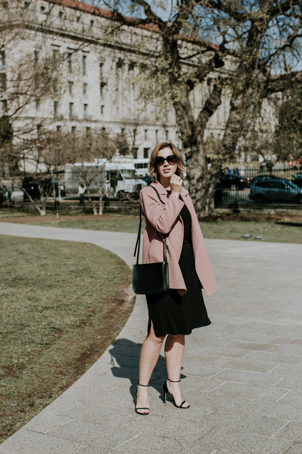 pink-coat-black-dress