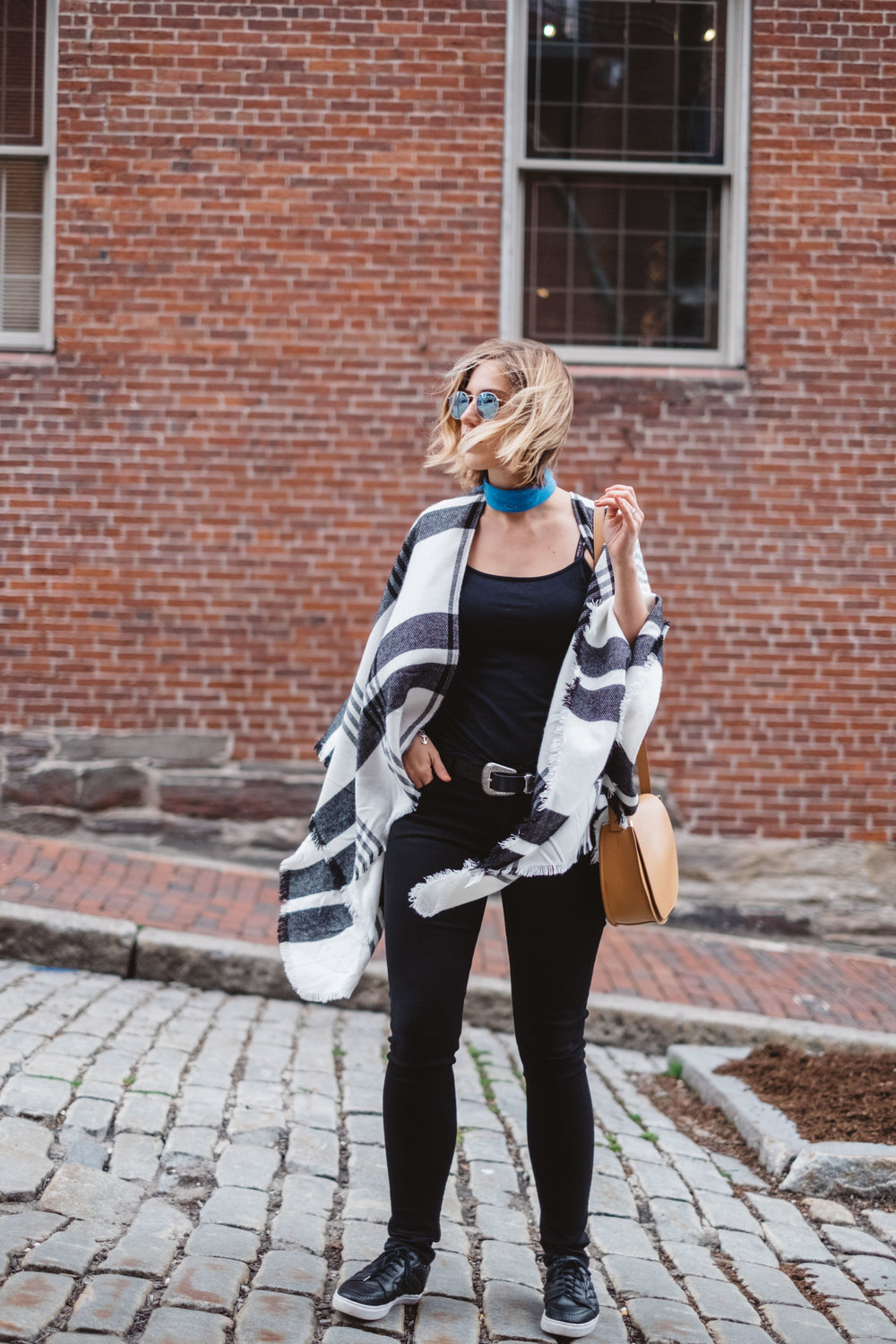 black and white poncho