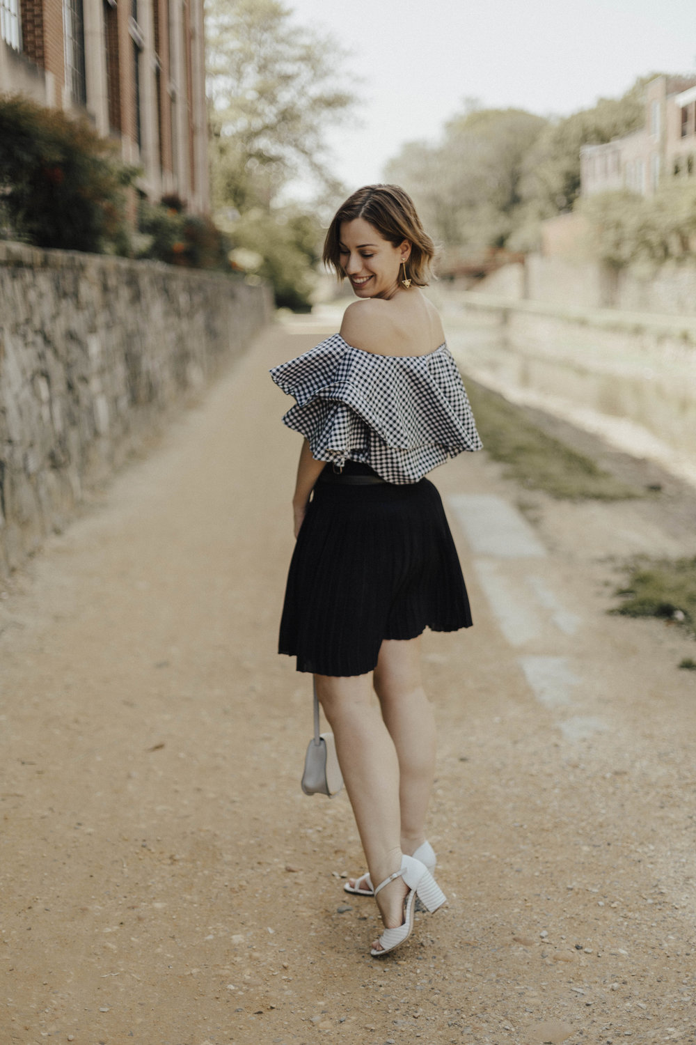 Gingham outfit off-the-shoulder top