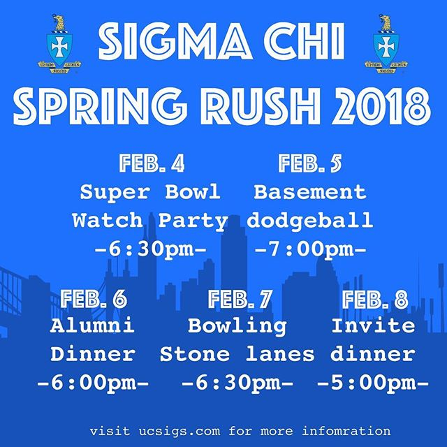 Spring Rush Week is just around the corner! Kick things off with us at our Super Bowl watch party. Feel free to DM us with any questions