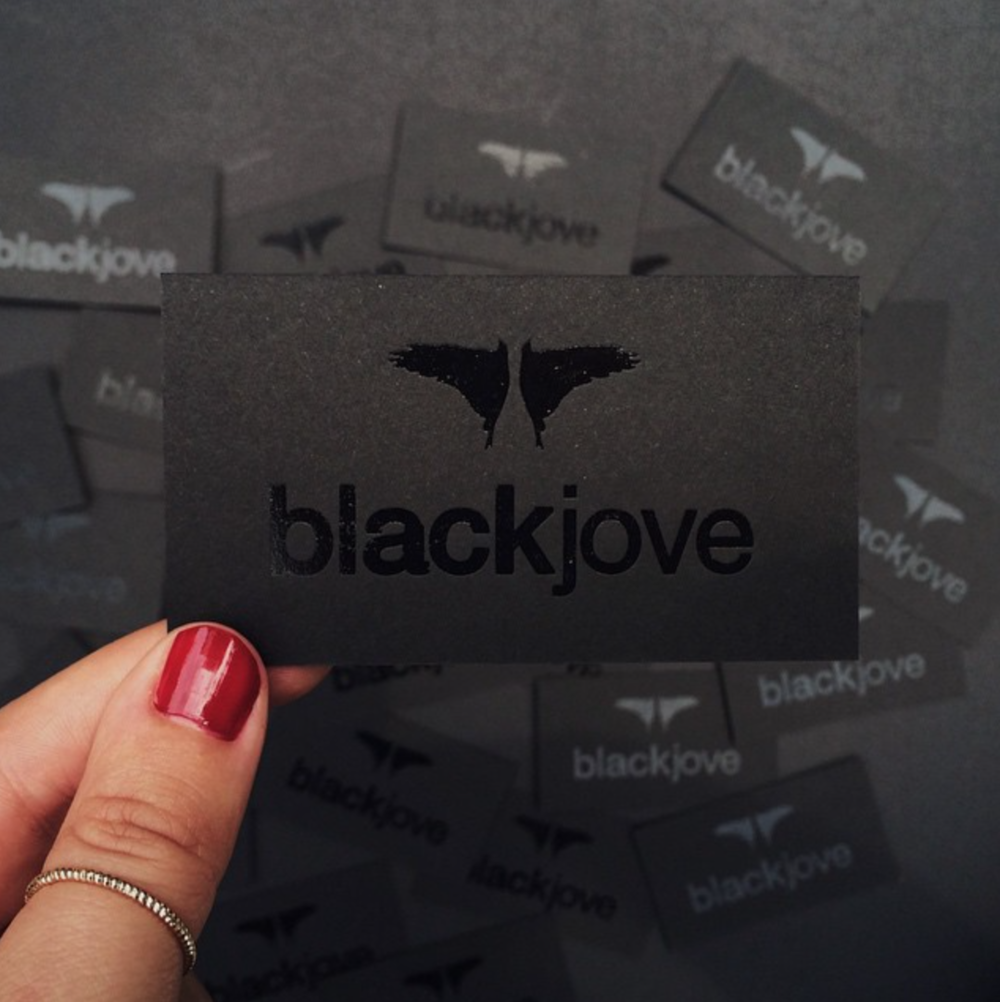 Blackjove black foil business cards