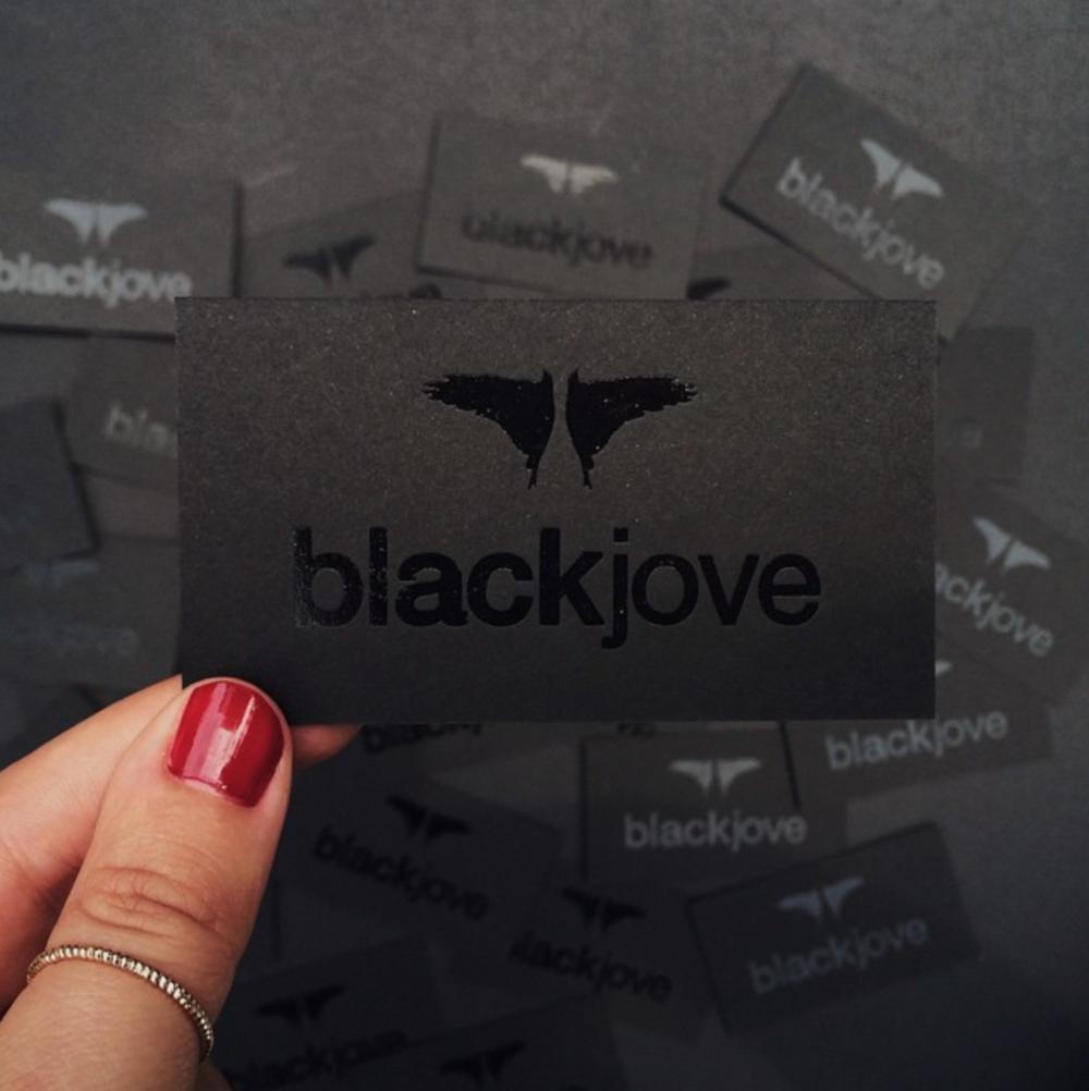 Blackjove black foil business cards