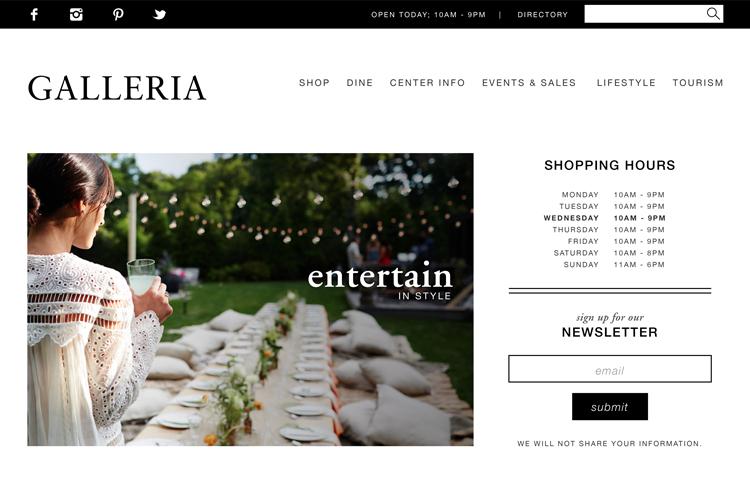 Galleria website design by Kayd Roy