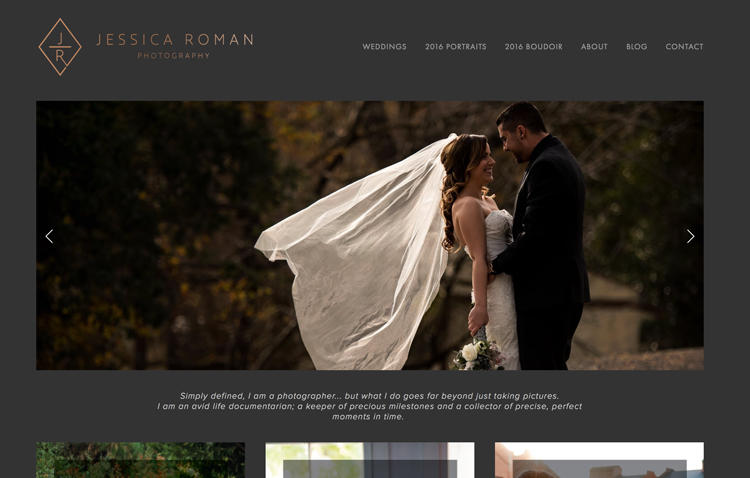 Jessica Roman Photography website design by Kayd Roy