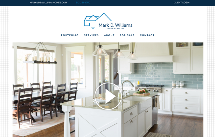 Mark D. Williams Custom Homes website design by Kayd Roy