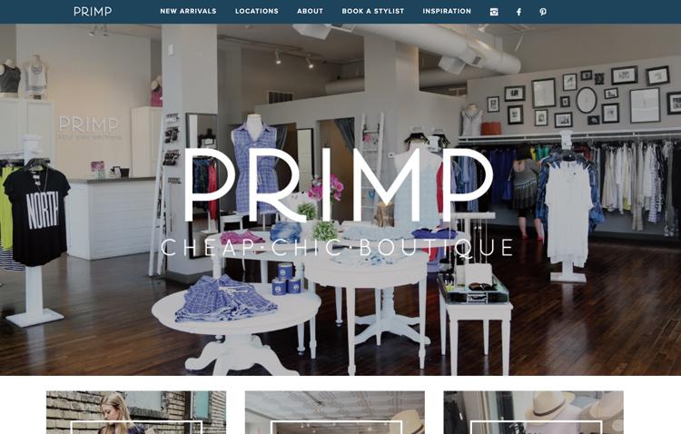 Primp website design by Kayd Roy