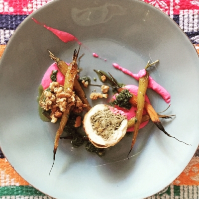 Sri lankan curried chicken galantine, @westerlyfarms carrots, honey beet yoghurt, cashew brown butter on roasted sweet potato