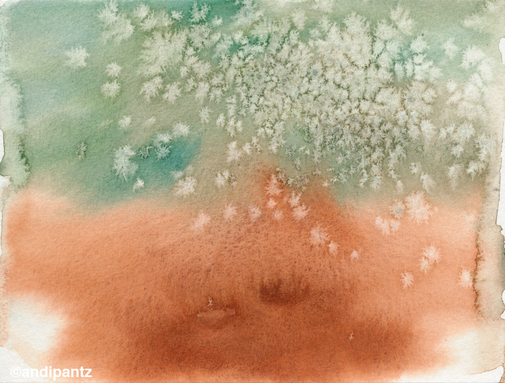 """Tarnished Copper""   Watercolor on watercolor paper.   4 1/2"" x 6"". March 2015.   Original painting: $20 shipped, unmatted/unframed."
