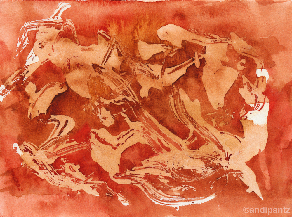 """The Dancers""   Watercolor on watercolor paper.   4 1/2"" x 6"". March 2015.   Original painting: $20 shipped, unmatted/unframed."