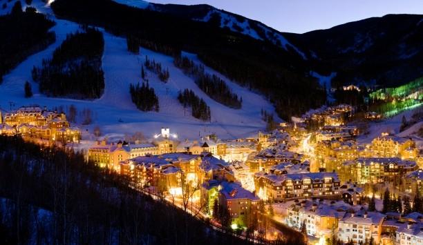 Aspen village at night