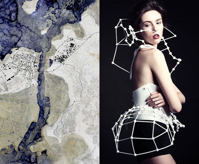 FIXED POINTS: map by Mark Erickson. Project DNA fashion by Catherine Wales