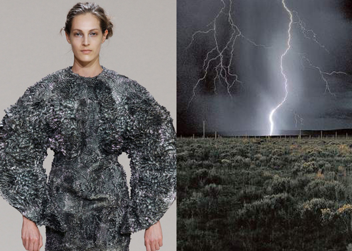 MAGNETISM: Wilderness Embodied by Iris van Herpen. The Lightning Field by Walter de Maria.