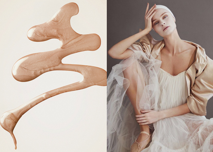 "Mini Moodboard: Nude Glow. Theme: NUDE GLOW. still life photo by Melissa Scheetz. Andrew Yee captures the purity of ballet-inspired looks in ""Called to the Barre."""