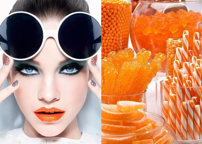 Mini Moodboard: ORANGE CRUSH. Designers went in big for the bright orange lipstick Spring 2014.