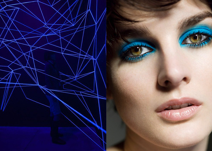 Mini Moodboard: Blue Monday. From black light art to Marc Jacobs Spring 2014 makeup, electric blue is in order.