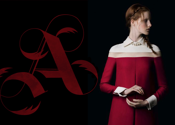 "Mini Moodboard: Black letter. This board passes from the typographic ""A"" to Valentino's monastic robe."